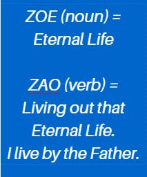 zoe - the life of the Father living through me
